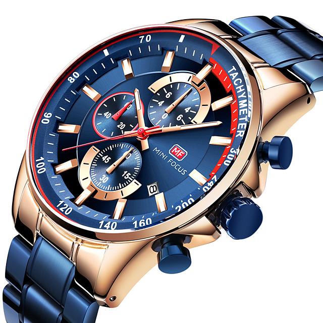 MINI FOCUS สำหรับผู้ชาย นาฬิกาตกแต่งข้อมือ นาฬิกาควอตส์ นาฬิกาอิเล็กทรอนิกส์ (Quartz) รูปแบบคลาสสิก สามตาหกเข็ม ความหรูหรา ปฏิทิน ระบบอนาล็อก Black / Rose Gold สีดำ ฟ้า / สแตนเลส / ญี่ปุ่น / ญี่ปุ่น