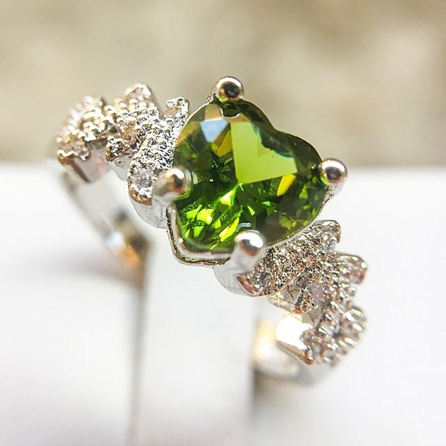 Bague / Anneaux Zircon Classique Vert Cuivre Platiné Imitation Diamant Cœur dames Elégant Romantique 1pc 6 7 8 9 10 / Femme