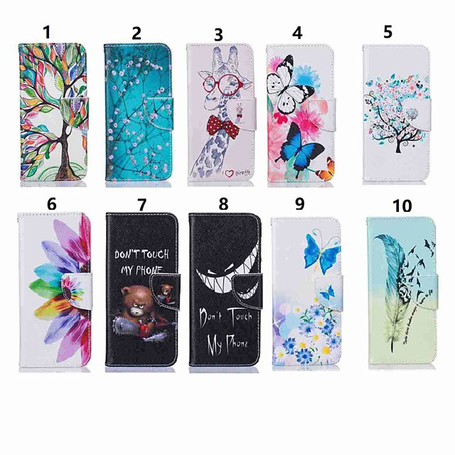 Case สำหรับ Samsung Galaxy J7 (2017) / J7 (2016) / J5 Prime Wallet / Card Holder / with Stand ตัวกระเป๋าเต็ม Butterfly / ต้นไม้ Hard หนัง PU