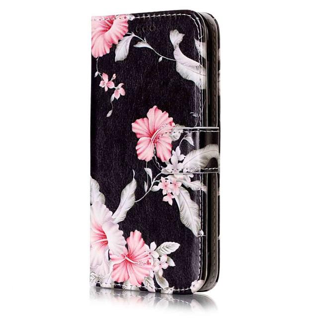 מגן עבור Samsung Galaxy J7 (2016) / J7 / J5 (2017) ארנק / מחזיק כרטיסים / עם מעמד כיסוי מלא פרח קשיח עור PU