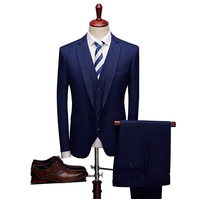 Avec motifs Coupe Sur-Mesure Laine / Polyster Costume - Cranté Droit 1 bouton / Droit 2 boutons / costumes