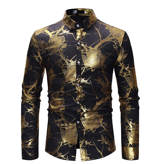 Men's Party Shirt Floral Print Long Sleeve Tops Luxury Basic White Black Wine / Club