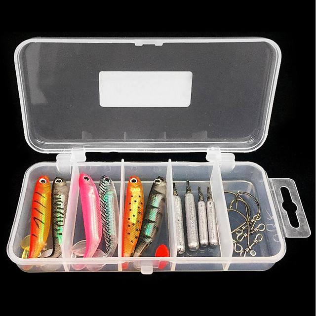 15 pcs Kit de Pêche Shad Facile à Utiliser Flottant Bass Truite Brochet Pêche en mer Pêche à la mouche Pêche d'appât
