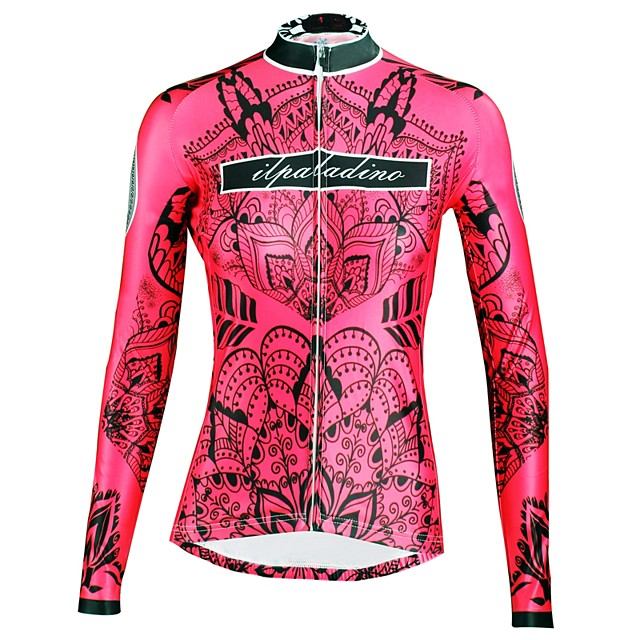 ILPALADINO Femme Manches Longues Maillot Velo Cyclisme Hiver Elasthanne Rouge Floral Botanique Cyclisme Hauts / Top VTT Vélo tout terrain Vélo Route Respirable Séchage rapide Résistant aux