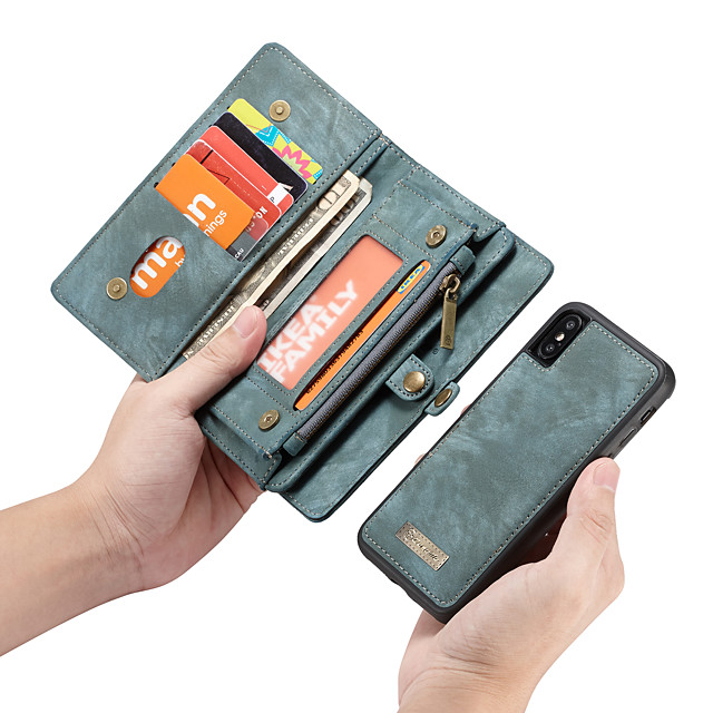 CaseMe Case For Apple iPhone XS / iPhone XR / iPhone XS Max Wallet / Card Holder / with Stand Full Body Cases Solid Colored Hard PU Leather