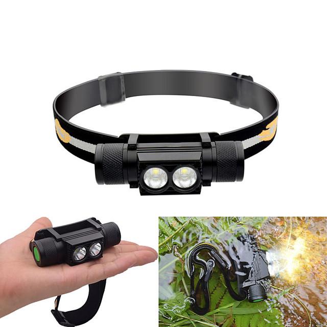 Lampes Frontales Imperméable 30-550 lm LED LED 2 Émetteurs 6 Mode d'Eclairage avec Piles Imperméable Ajustable Durable Poids Léger Camping / Randonnée / Spéléologie Cyclisme Chasse Noir / IPX 6