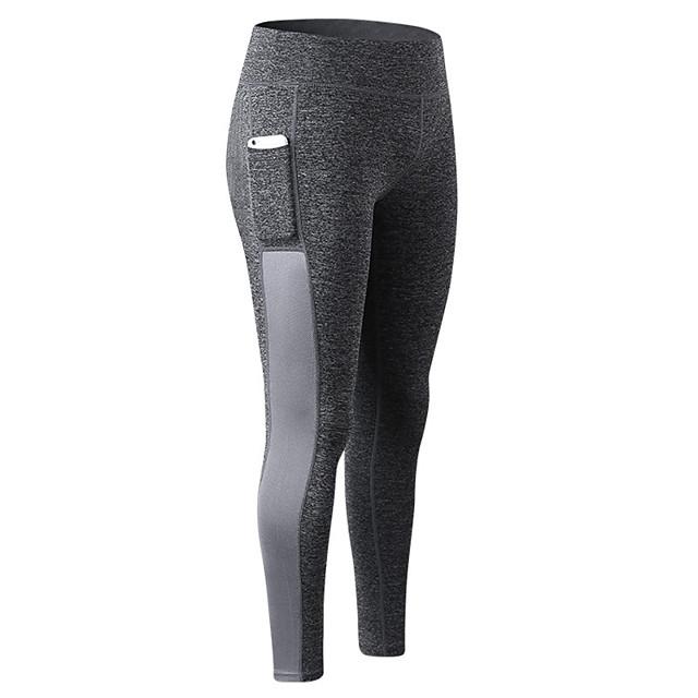 Femme Taille Haute Pantalon de yoga Legging Séchage rapide Rayure Blanche Gris Elasthanne Zumba Fitness Des sports Tenues de Sport Haute élasticité Slim