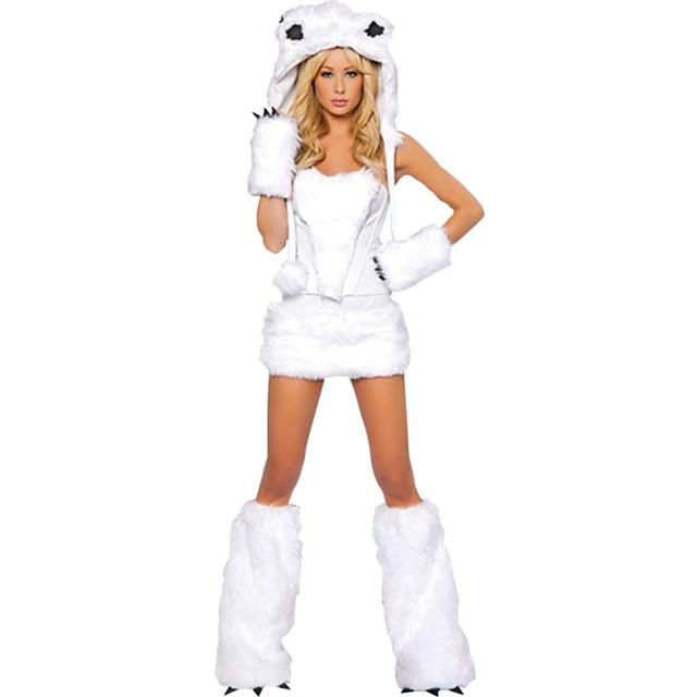Loup femmes Chaussures Gants Chapeau Costume Adulte Femme Halloween Noël Noël Halloween Carnaval Fête / Célébration Térylène Polyester Blanche Femme Facile Déguisement Carnaval Animal / Haut / Jupes