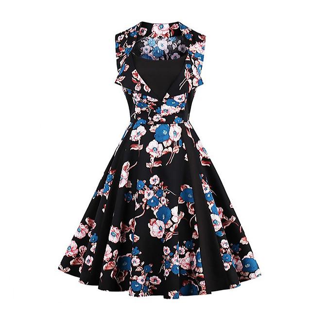 Audrey Hepburn Points Polka Robes Rétro Vintage Années 50 robe de vacances Robe Rockabilly Robe de bal Femme Costume Bleu Vintage Cosplay Sans Manches Mi-long
