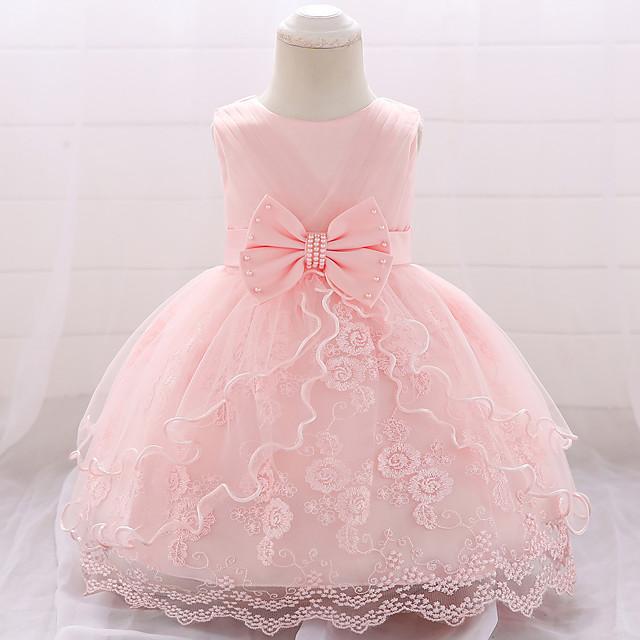 아가 여아 베이직 파티 솔리드 리본매듭 꽃장식 멀티 레이어 주름장식 민소매 드레스 화이트 퍼플 블러슁 핑크