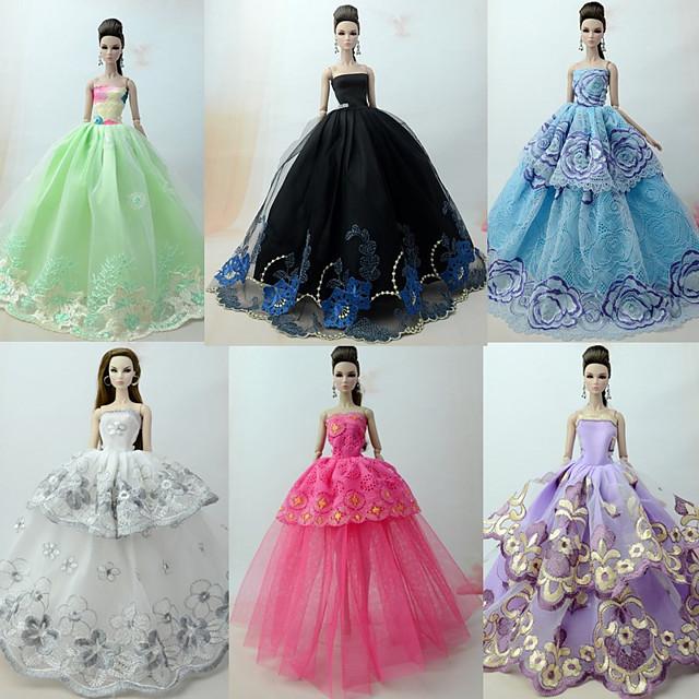 Princess Lolita Elegant Rochie De Bal 6 pcs Pentru Barbie organza Haine de Păpușă Pentru Fata lui păpușă de jucărie