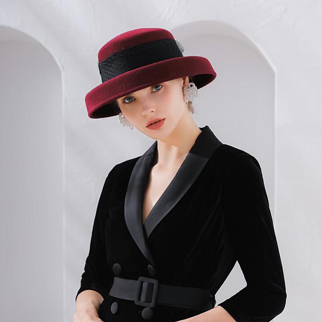 Elizabeth Audrey Hepburn Women's Adults' Ladies Retro Vintage Felt Hats Hat Black Red Coffee Bowknot Wool Tulle Headwear Lolita Accessories