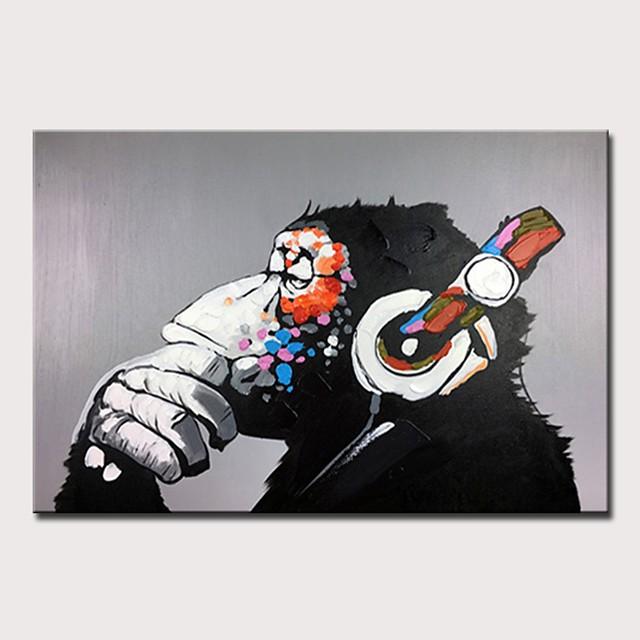 Peinture à l'huile Hang-peint Peint à la main Format Horizontal Abstrait Pop Art Moderne Rideau (sans cadre)