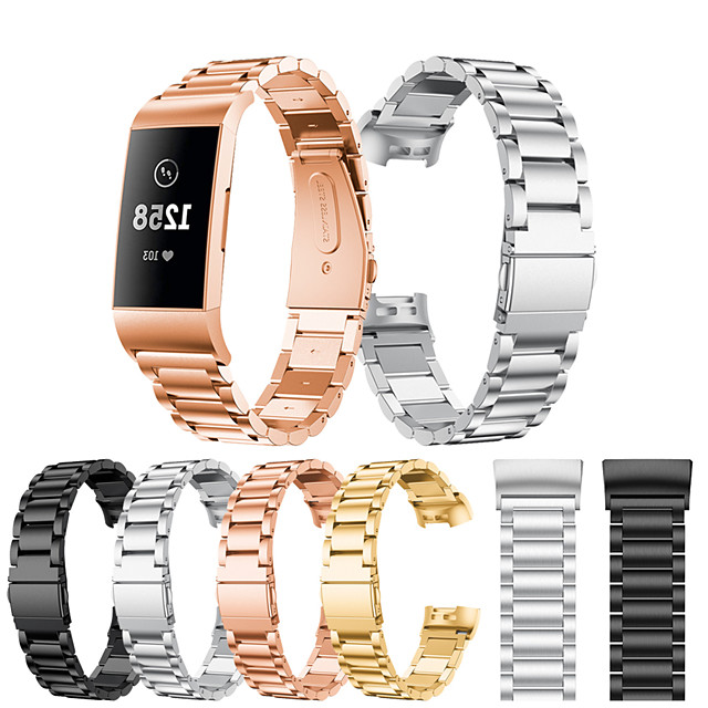 Klokkerem til Fitbit Charge 3 Fitbit Sportsrem Rustfritt stål Håndleddsrem