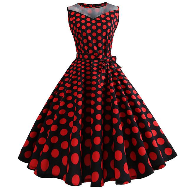 Audrey Hepburn Points Polka Robes Rétro Vintage Années 50 robe de vacances Robe Rockabilly Robe de bal Femme Tulle Costume Fuchsia Vintage Cosplay Sans Manches Mi-long