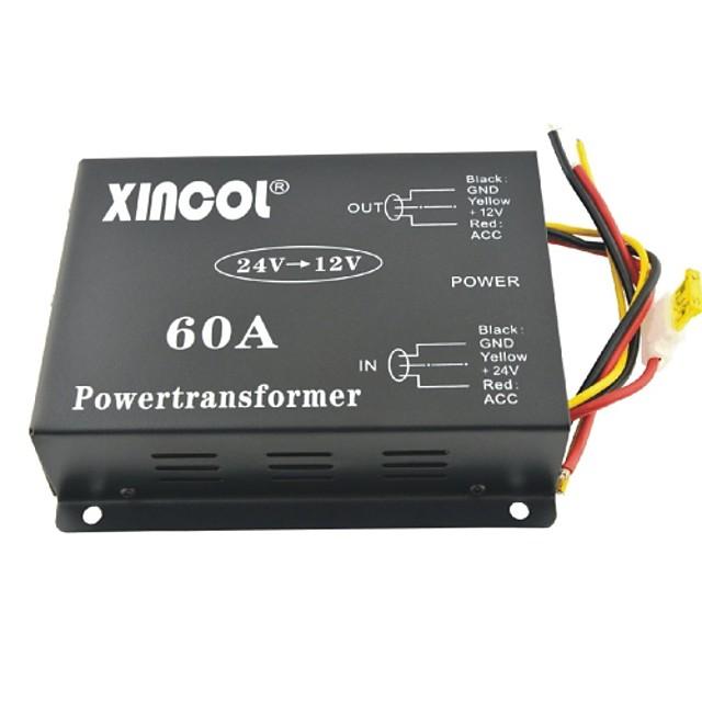 xincol® vehicul dc 24v auto la 12V 60a convertor de alimentare transformator cu dublă fan-reglementare negru