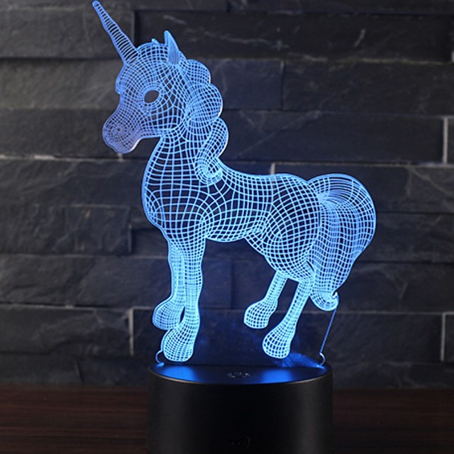 Beautiful Unicorn Romantic Gift 3D LED Table Lamp 7 Color Change ...