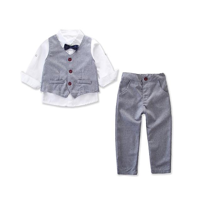Enfants Bébé Garçon Ensemble de Vêtements Soirée Quotidien Couleur Pleine Manches Longues Actif basique Normal Gris Clair
