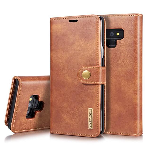 Кейс для Назначение SSamsung Galaxy Note 9 / Note 8 Бумажник для карт / Защита от удара / со стендом Чехол Однотонный Твердый Настоящая кожа