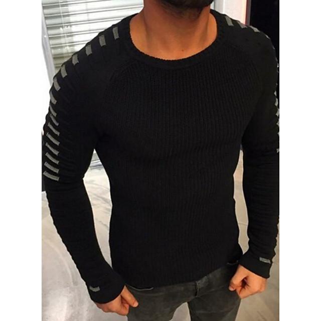 Homme basique Bloc de Couleur Pullover Manches Longues Normal Pull Cardigans Blanche Noir Vert Véronèse