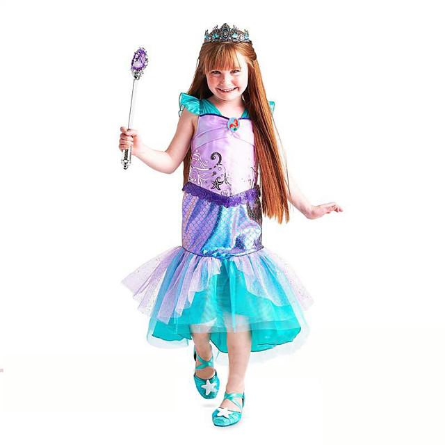 Déguisement Halloween Fille La Petite Sirène Aqua Princess Robe trapèze Actif robe de vacances Costume de Cosplay Robe de demoiselle d'honneur Noël Halloween Carnaval Tulle Coton Vert Costumes