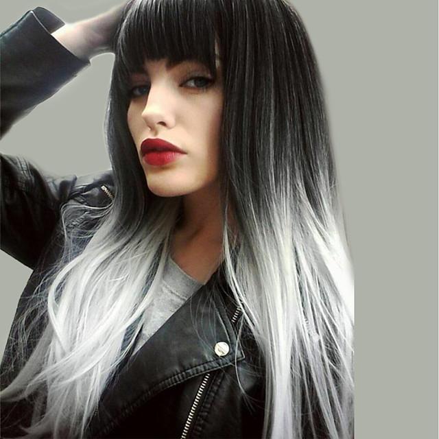 Perruque Synthétique Droite naturelle Kardashian Coupe Asymétrique Perruque Très long Noir blanc Cheveux Synthétiques 24 pouce Femme Nouvelle arrivee Cheveux Colorés Ligne de Cheveux Naturelle Noir