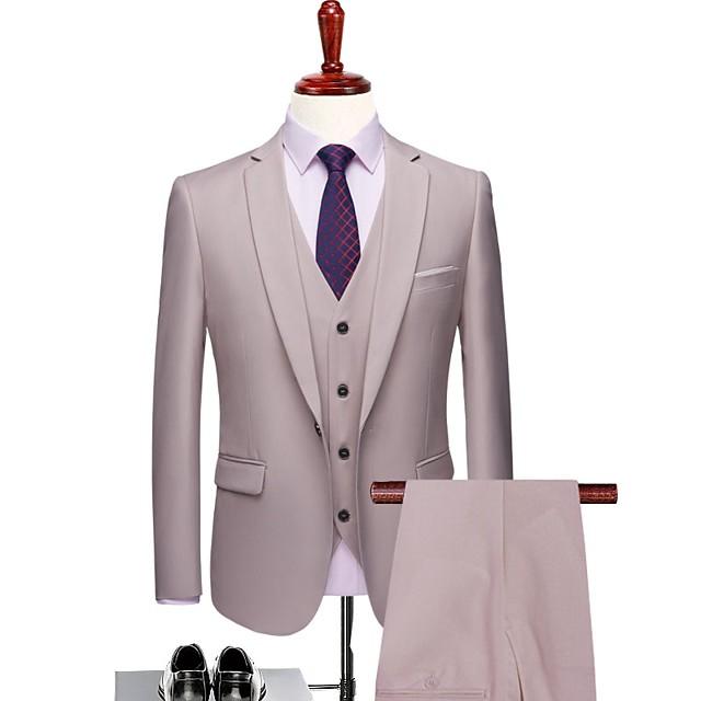 Blanc Laiteux Couleur Pleine Coupe Sur-Mesure Polyester Costume - Cranté Droit 1 bouton / costumes