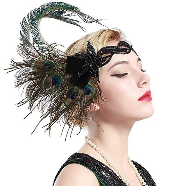 Gatsby Charleston Rétro Vintage Années 1920 Gatsby Les rugissantes années 20 Casque Bandeau Garçonne Femme Franges Costume Bijoux de Cheveux Vert Vintage Cosplay Soirée Fête scolaire / Coiffure