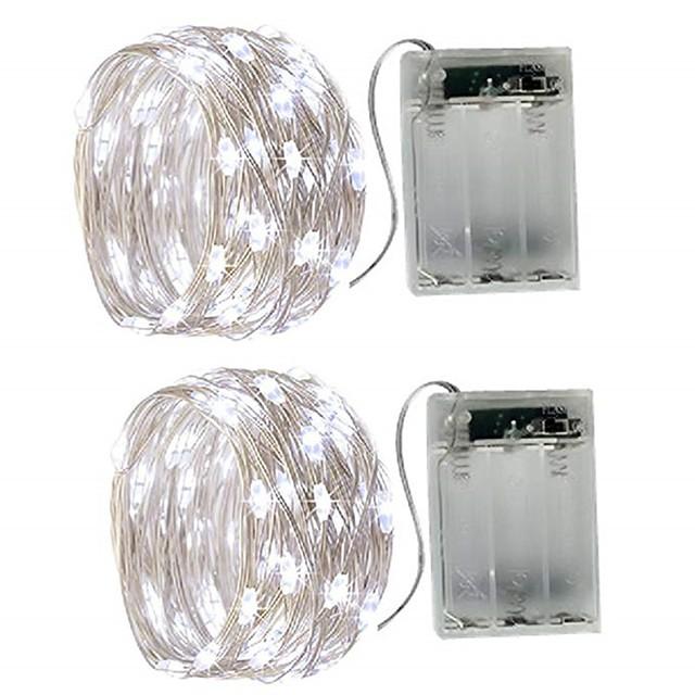 5m Guirlandes Lumineuses 50 LED SMD 0603 2pcs Blanc Chaud Blanc Plusieurs Couleurs Imperméable Soirée Décorative Batteries alimentées
