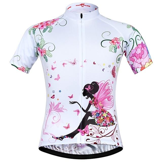 JESOCYCLING Femme Manches Courtes Maillot Velo Cyclisme Polyester Blanche Floral Botanique Cyclisme Maillot Hauts / Top VTT Vélo tout terrain Vélo Route Respirable Séchage rapide Evacuation de