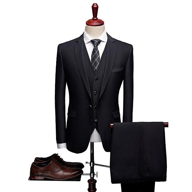 Noir Avec motifs Coupe Sur-Mesure Laine / Polyster Costume - Cranté Droit 1 bouton / Droit 2 boutons / costumes