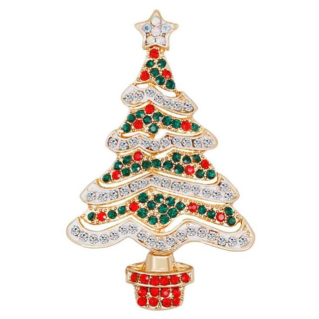 Femme Zircon Broche Classique Arbre de Noël dames Mode Broche Bijoux Vert / Rouge Pour Noël Quotidien