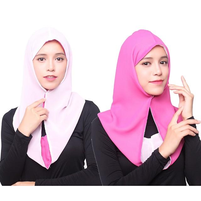 Femme Basique Mousseline de soie / Rayonne Hijab - Couleur Pleine Multirang / Toutes les Saisons