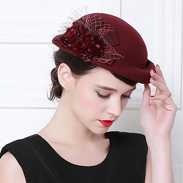 Elizabeth Audrey Hepburn Pentru femei Adulți femei Retro / Vintage Cloche Hat Fascinator Hat Negru Roșu Cafea Floare Lână Veșminte de cap Lolita Accesorii