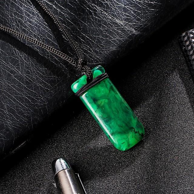 Collier Pendentif Homme Classique Résine Classique Tendance Mode Cool Vert foncé 31 cm Colliers Tendance Bijoux 1pc pour Quotidien Plein Air Rectangle