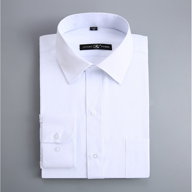 Men's Shirt Solid Colored Long Sleeve Work Tops Business Basic White