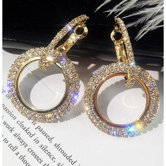 Dames Druppel oorbellen plaveien Eenvoudig Koreaans Elegant Bling bling Dagelijks Gesimuleerde diamant oorbellen Sieraden Goud / Zilver Voor Verjaardag Dagelijks 1 paar