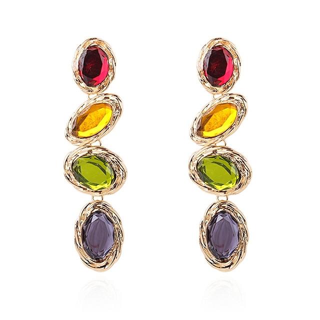 Femme Multicolore Boucle d'Oreille Pendantes Long Pendant Coloré Des boucles d'oreilles Bijoux Dorée Pour Scène Vacances 1 paire