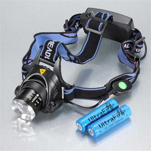 Frontale Becul farurilor Rezistent la apă Reîncărcabil 1200 lm LED LED 1 emițători 3 Mod Zbor cu Baterii Rezistent la apă Zoomable Reîncărcabil Ajustabil Camping / Cățărare / Speologie Utilizare