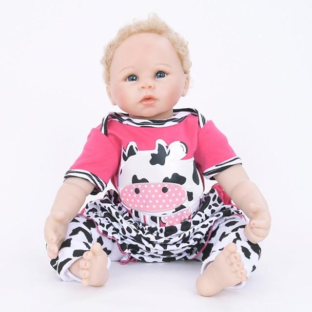 FeelWind 22 pouce Poupées Reborn Fille Poupée Bébés Fille réaliste Fait à la Main Mignon Tissu Membres en silicone 3/4 et corps rempli de coton cadeaux noël enfant avec vêtements et accessoires pour