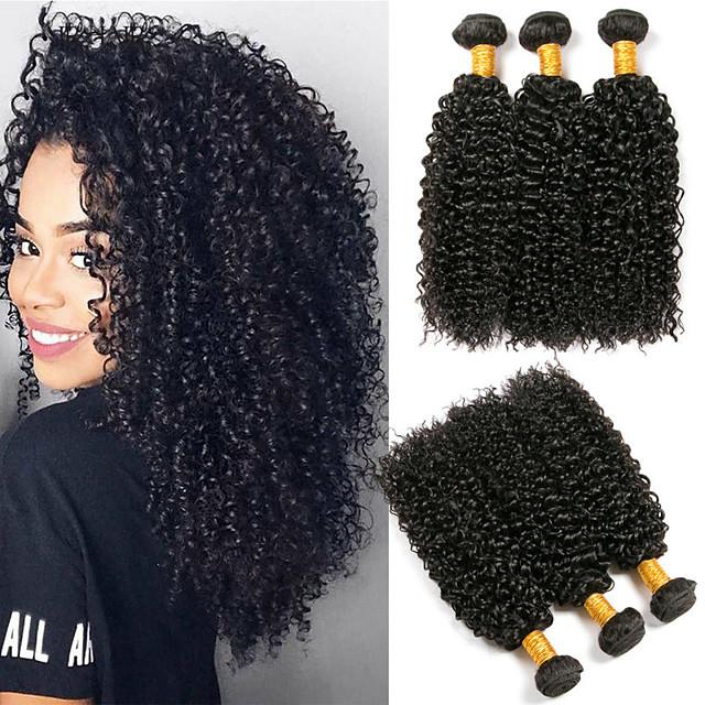 Lot de 3 Tissage de cheveux Cheveux Brésiliens Kinky Curly Extensions de cheveux Naturel humains Cheveux Vierges Naturel Casque Tissages de cheveux humains Soin des Cheveux 8-28 pouce Couleur