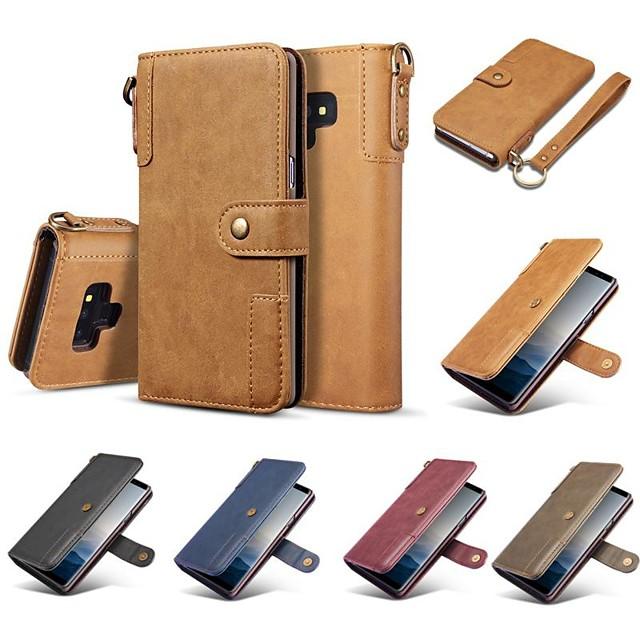Кейс для Назначение SSamsung Galaxy Note 9 / Note 8 Кошелек / Бумажник для карт / Защита от удара Чехол Однотонный Твердый Настоящая кожа