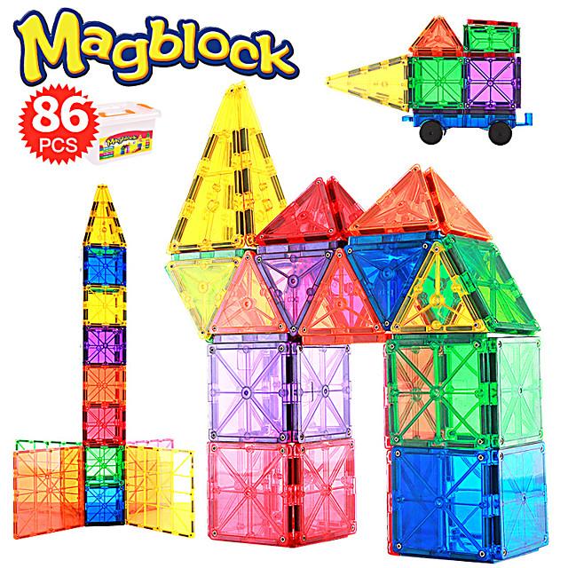 Blocs Magnétiques Carreaux magnétiques Briques de construction 86 pcs Créatif Motif géométrique Dégradé de Couleur Jouets de construction Tous Garçon Fille Jouet Cadeau / Enfant cadeaux noël enfant