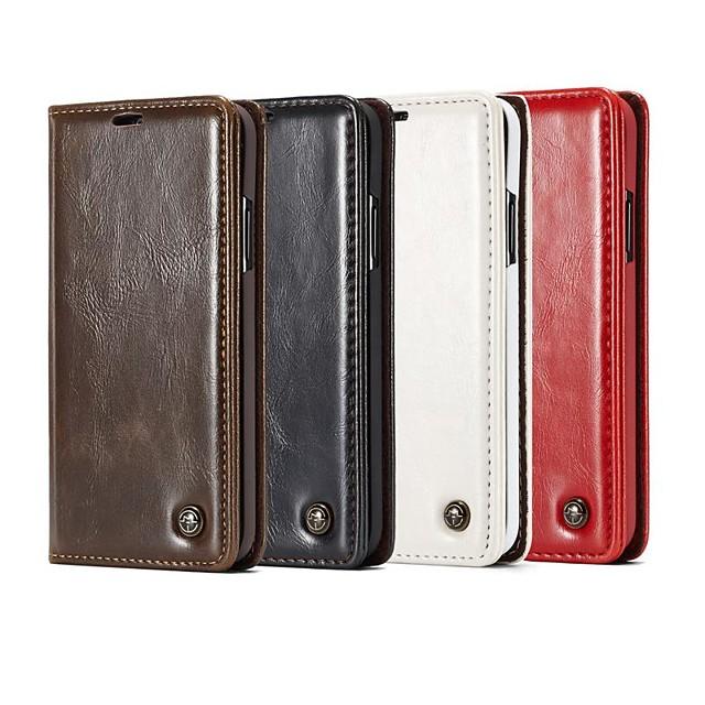 Кейс для Назначение SSamsung Galaxy Note 9 / Note 8 / Note 5 Кошелек / Бумажник для карт / со стендом Чехол Плитка / Однотонный Твердый Кожа PU