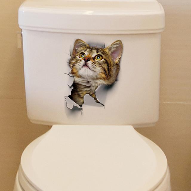 ملصقات الحائط المرحاض القط جميل - الكلمات&amp ؛ أمبير يقتبس ملصقات الحائط الشخصيات دراسة غرفة / مكتب / غرفة الطعام / المطبخ