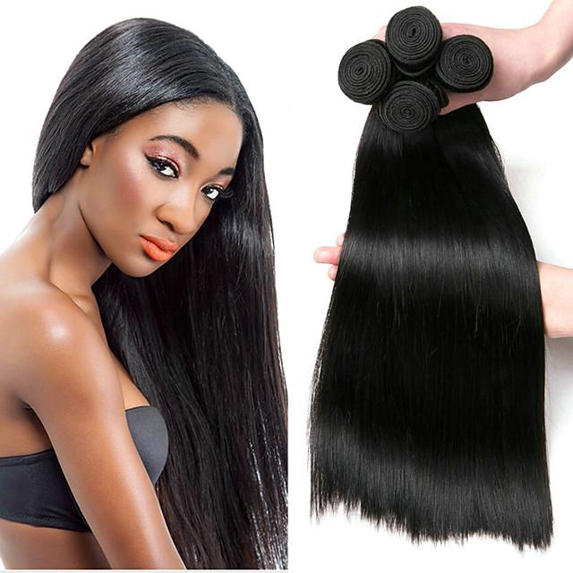 Lot de 4 Tissage de cheveux Cheveux Brésiliens Droit Extensions de cheveux Naturel humains Cheveux Naturel Rémy Paquets de 100% Remy Hair Weave 400 g Tissages de cheveux humains Extensions Naturelles