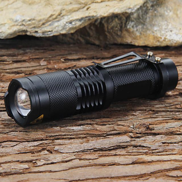 Lanterne LED 1200 lm LED LED 1 emițători 5 Mod Zbor Cu Baterie și Încărcător Focalizare Ajustabilă Rezistent la Impact Mască exterioară lanternă Camping / Cățărare / Speologie Utilizare Zilnică De