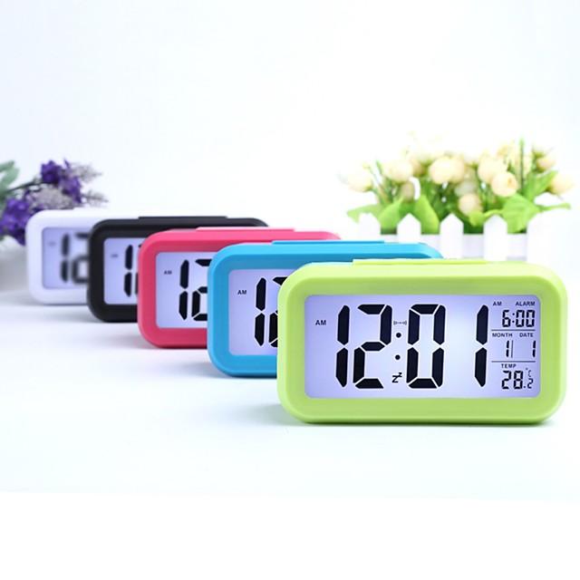 ceas de alarmă digital cu lumină inteligentă de noapte, cu temperatură interioară, ceas de noptieră pentru lumina de fundal