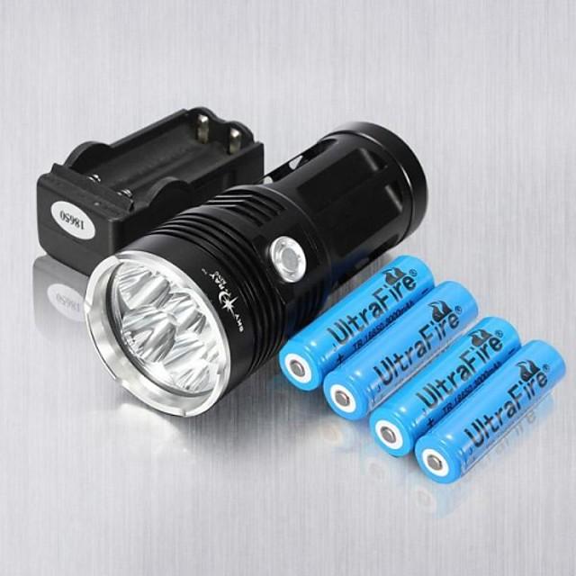 3 Lanterne LED Reîncărcabil 6000 lm LED 6 emițători Reîncărcabil Rezistent la Impact Mască exterioară lanternă Camping / Cățărare / Speologie Utilizare Zilnică Ciclism / Aliaj de Aluminiu