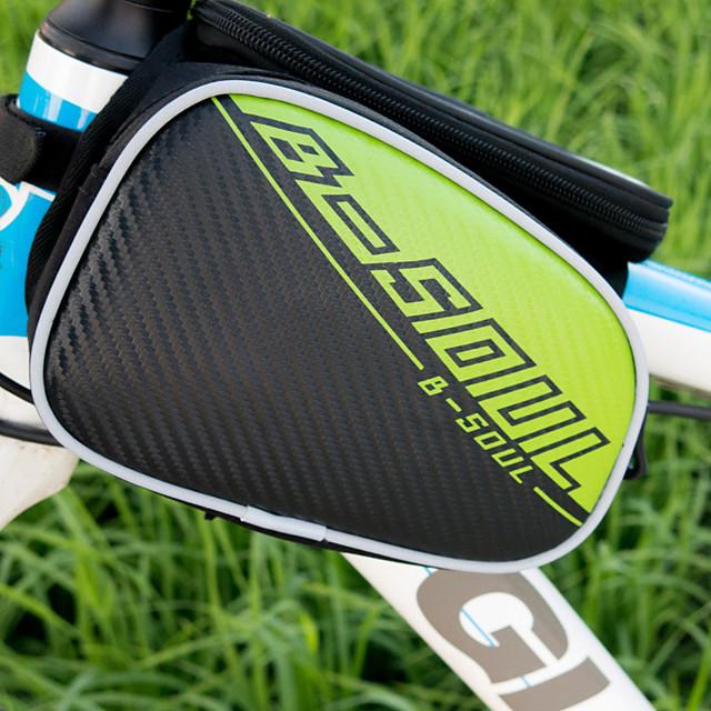 B-SOUL 2.5 L Sac de cadre de vélo Portable Vestimentaire Durable Sac de Vélo Tissu Oxford Cuir Sac de Cyclisme Sacoche de Vélo Cyclisme Activités Extérieures Vélo Cyclisme